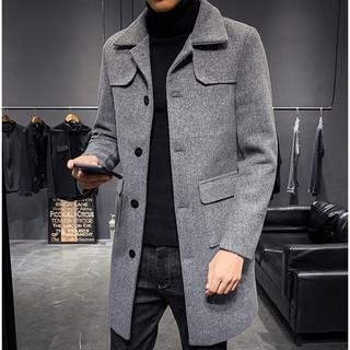 現貨 長款毛呢外套 大口袋外套 素面長版外套 灰色毛呢大衣 單排扣外套 保暖外套 長大衣 灰色風衣男  韓瘋谷 雲林縣