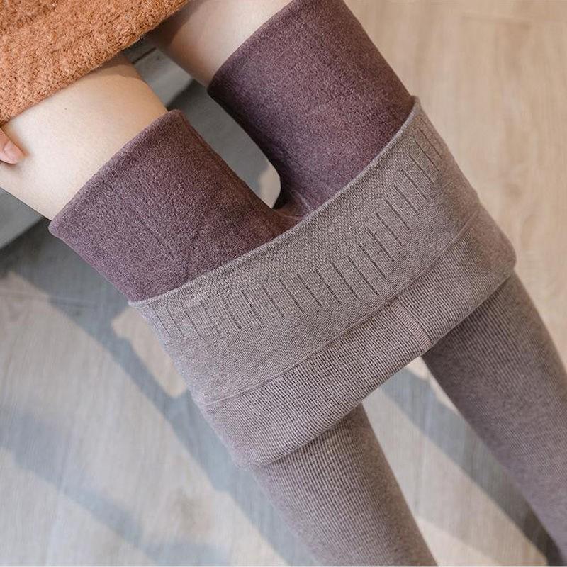 仿羊絨螺紋刷毛加厚內搭褲女外穿2019秋冬一件式高腰大尺碼保暖棉褲女  hy
