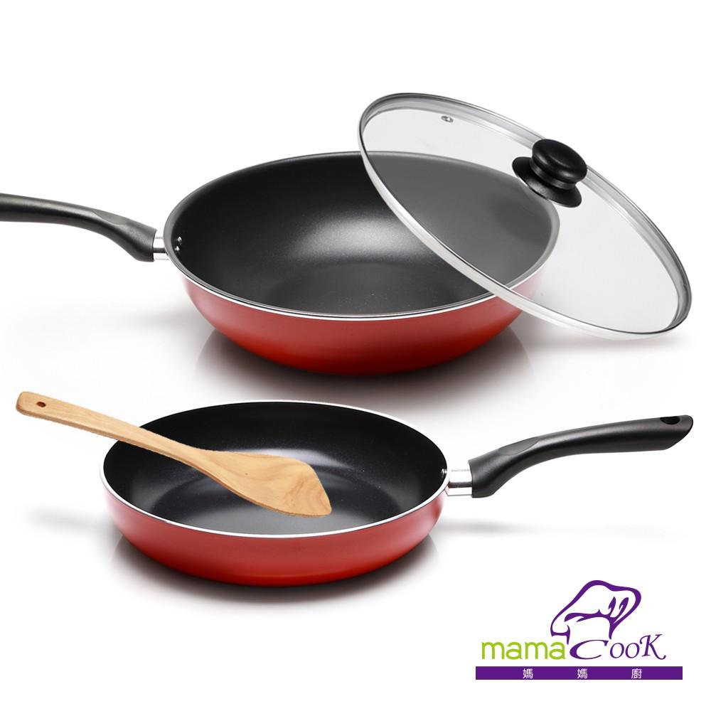 【義大利Mama cook】亮麗紅黑陶瓷不沾雙鍋4件組(32cm炒鍋+26cm平底鍋)