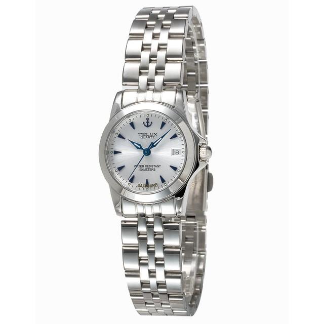 [缺貨中]台灣品牌手錶腕錶【TELUX鐵力士】絕世女伶腕錶26mm台灣製造石英錶7925W-W13白面藍釘