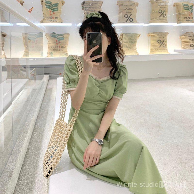 連衣裙 連身裙 短袖洋裝 裙子 洋裝 綠色裙子女2021新款夏季法式桔梗裙收腰顯瘦方領泡泡袖連衣裙長裙