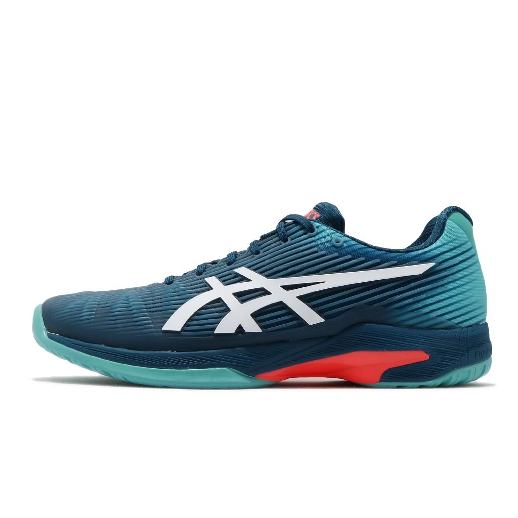 Asics 網球鞋 Solution Speed FF 藍綠 白 橘紅 男鞋 亞瑟士 【ACS】 1041A003407