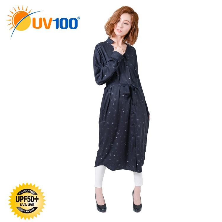 UV100 防曬 抗UV-涼感印花綁帶長版襯衫洋裝-女 - 暗夜黑【BD91052】