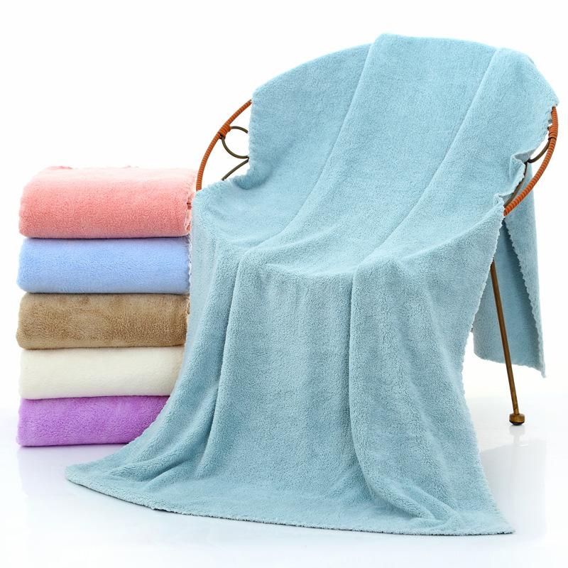 70*140cm浴巾珊瑚絨超細纖維沙灘美容巾定製LOGO禮品成人吸水加厚