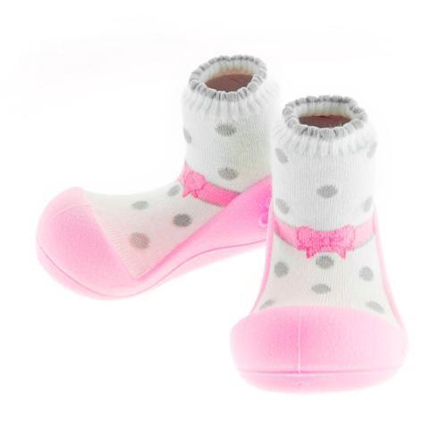 Attipas 快樂腳襪型學步鞋-芭蕾粉紅