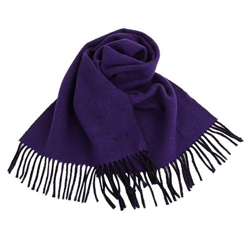 agnes b.-小 b.系列流蘇雙面圍巾/披巾(亮紫/黑)