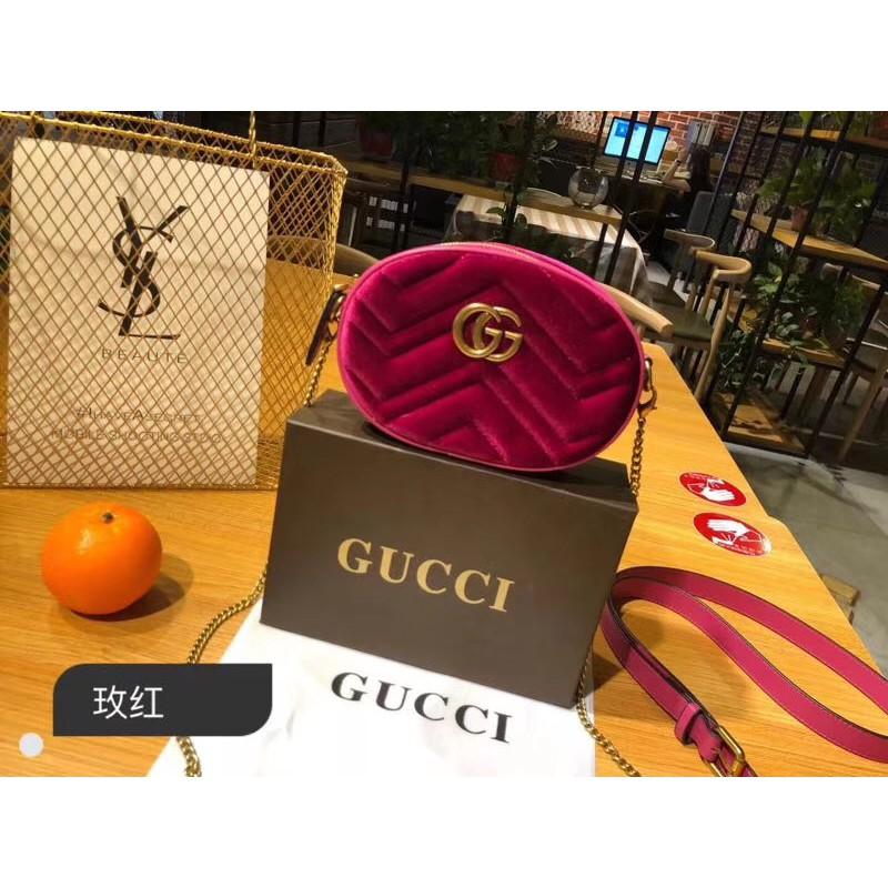 Gucci/古奇絲絨腰包 斜挎
