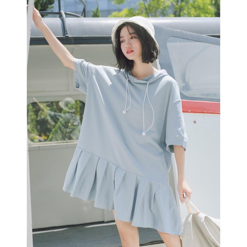 五分袖寬鬆帽T拼接裙襬膝上裙洋裝 S-L 白 淡藍兩色