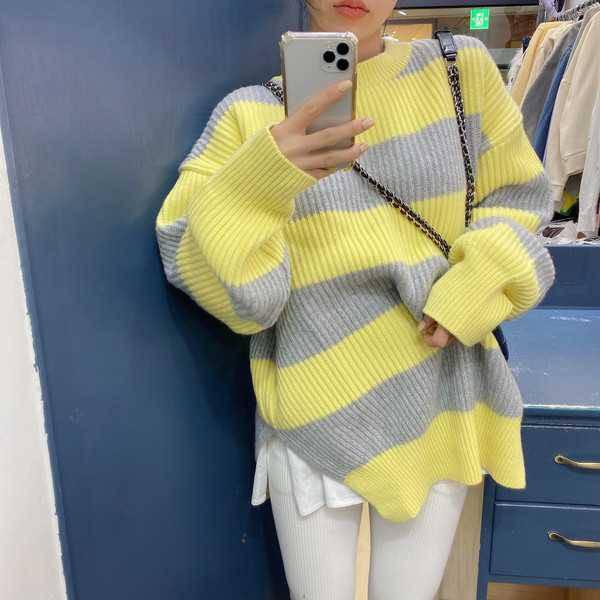 韓國❣️chic超好看smile拼布條紋針織上衣 減齡感 歐美時尚 韓妞穿搭 寬鬆顯瘦 側開衩 官網同步連線款