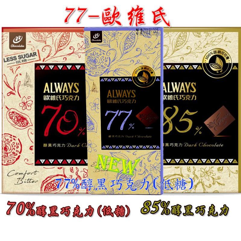 77歐維氏-70%醇黑巧克力(低糖)、85%醇黑巧克力、77%醇黑巧克力(低糖)