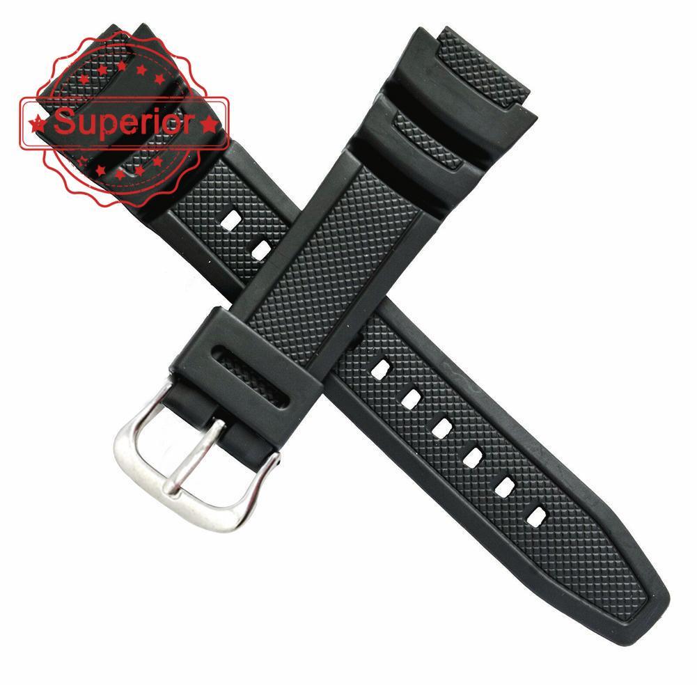 原裝卡西歐手錶帶, 用於雙傳感器 SGW 100 SGW 1V 橡膠黑色 100 錶帶 O0P6