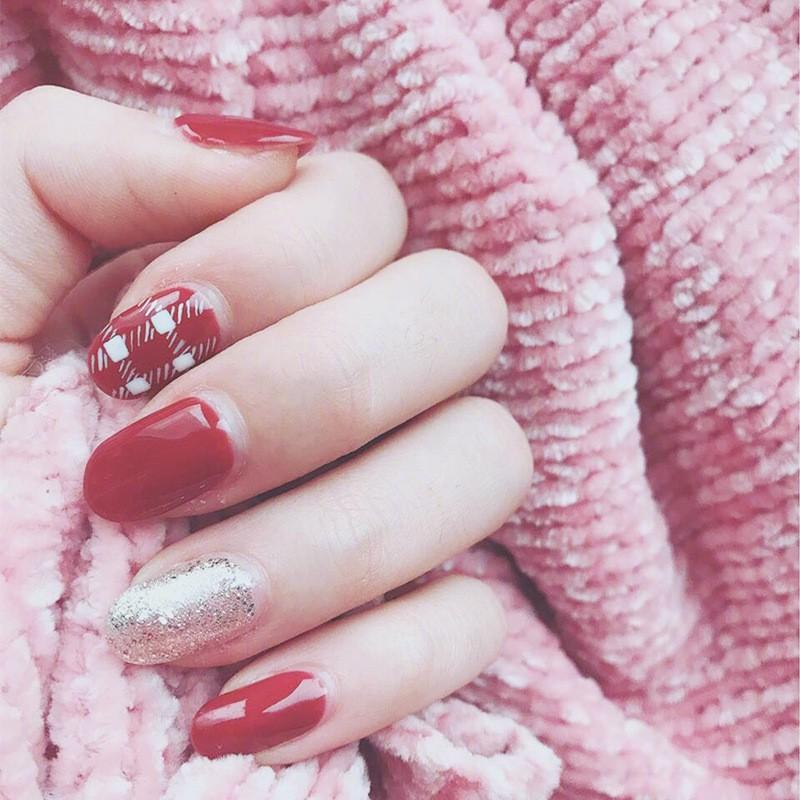 指甲貼片 NL156 圓紅井紅色ins風歐美新娘日韓穿戴美甲假指甲貼片【買1送5配件】