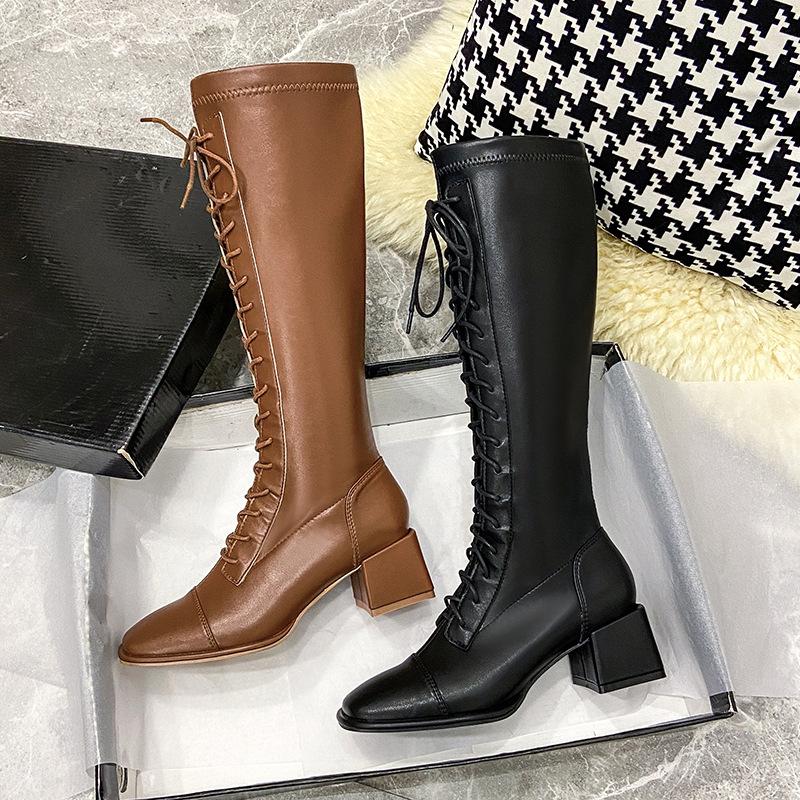 Living超纖 2021年新款不過膝長靴方頭粗跟騎士靴前繫帶高筒靴子加絨長筒皮靴