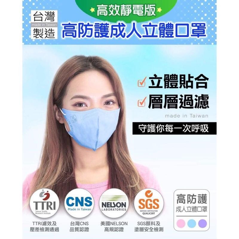 【MASAKA超淨新口罩 高效靜電版】 台灣製 成人立體口罩【粉紅/粉藍/七彩】【1盒50入】