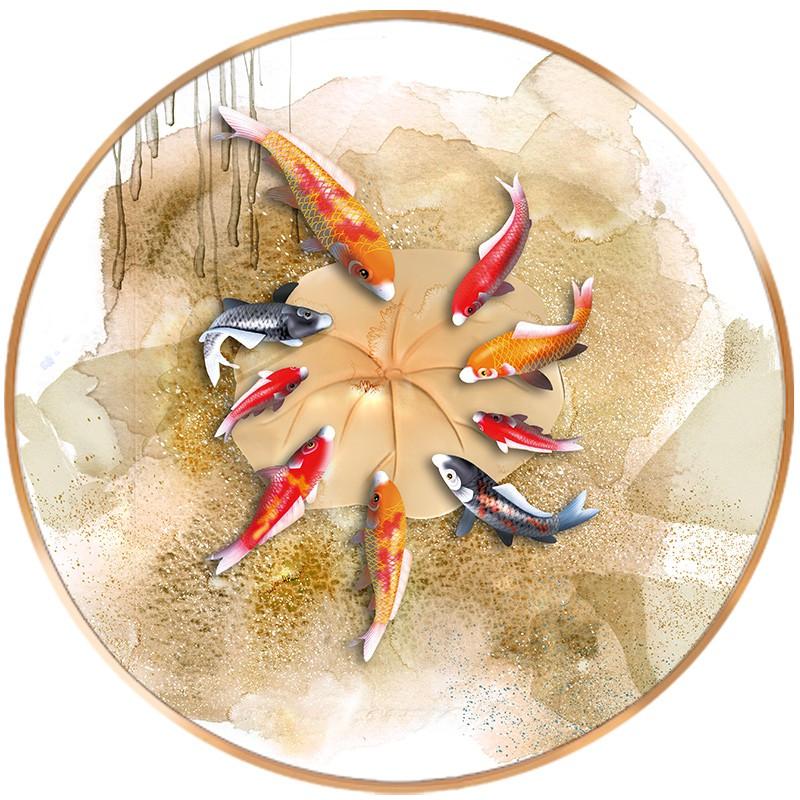 圓形進門玄關裝飾畫九魚圖魚入戶走廊掛畫晶瓷鑲鉆過道壁畫千奇美百貨