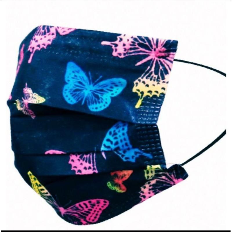 🔥現貨 熱賣🔥[蝴蝶 口罩] 🎀蝴蝶系列🎀彩蝶 (黑色) 印花口罩 (非醫用) 成人款