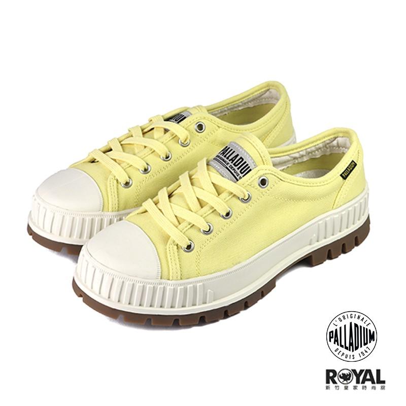 Palladium Pallashock 鵝黃色 帆布 厚底5CM 休閒鞋 女款 NO.B1285【新竹皇家 】
