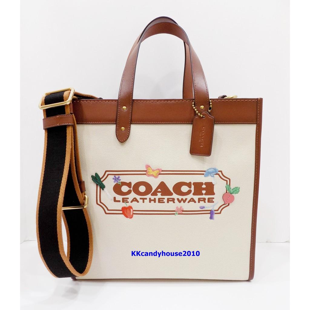 Coach C2774 專櫃新款 Garden Embroidered Field米白色帆布包面滾馬鞍色皮革托特包