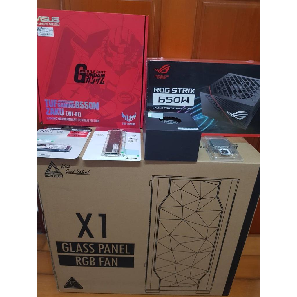 AMD R5 5600X+ASUS華碩 GAMING TUF B550M ZAKU WIFI 鋼彈限量版 電競套裝電腦