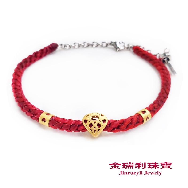 金瑞利珠寶9999純金 品牌商品璀璨金鑽0.55錢3D硬金黃金蠟繩手鍊