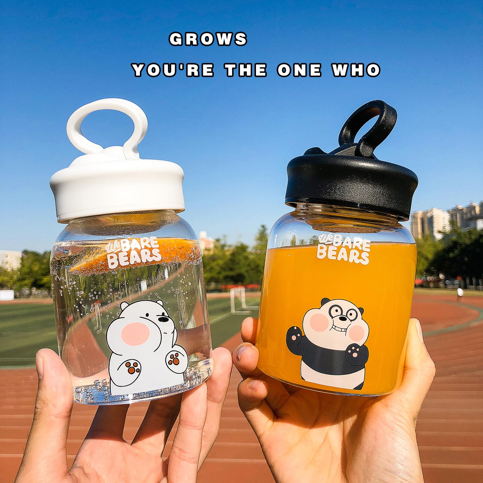 現貨 熊熊遇見你 We Bare Bears 阿極 可愛小熊帶茶隔玻璃水瓶女學生情侶帶杯套牛奶小巧超萌水杯子 水壺