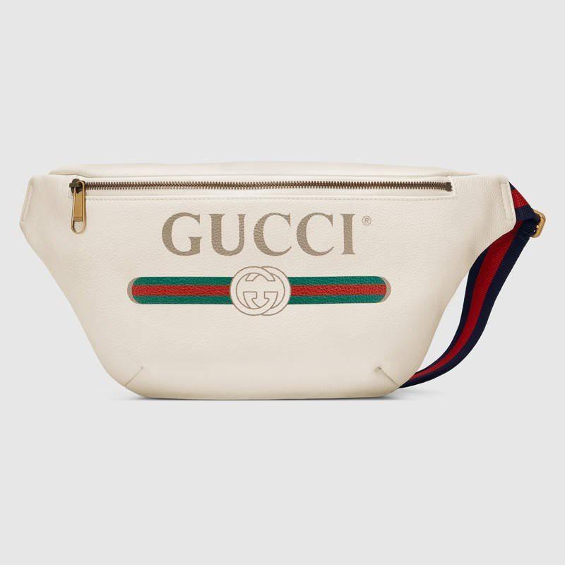 GUCCI Logo 皮革 斜背包 腰包 白色