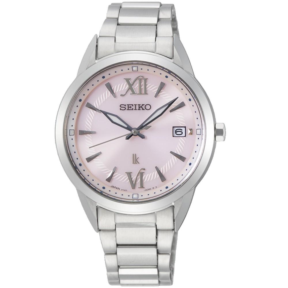 SEIKO精工 LUKIA 玫瑰盛放 太陽能女腕錶(SUT389J1/V147-0CL0P)-粉色34mm