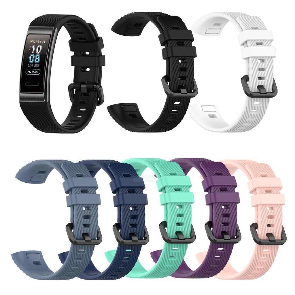 免運 錶帶 適用華為手環band 3/band4 pro硅膠表帶TER-B09/TER-B29S替換腕帶