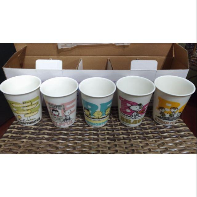 史努比悅活五入陶瓷水杯組