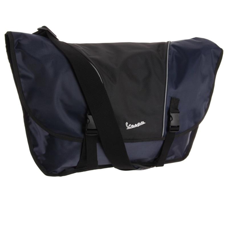 全新美國帶回-VESPA原廠藍色款電腦斜背包