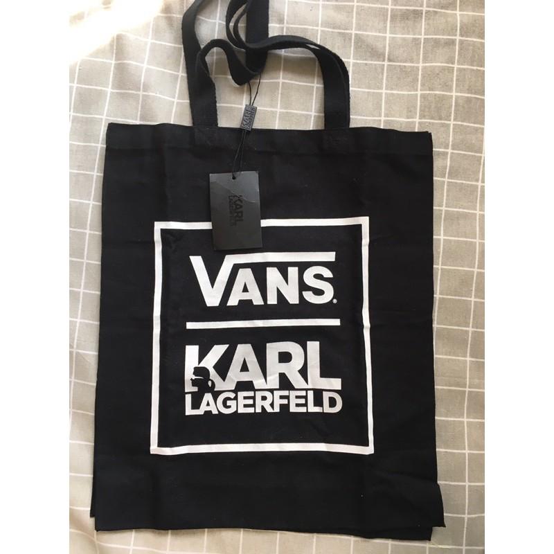 老佛爺 帆布包 KARL LAGERFELD 卡爾拉格斐 VANS 聯名款 帆布包 黑色 潮牌 托特包 布包