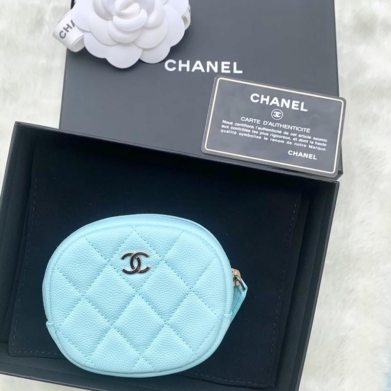 (歡迎線上刷卡無息分期) [二手正品]Chanel 香奈兒 橢圓形 零錢包 荔枝皮 Tiffany藍 可放卡