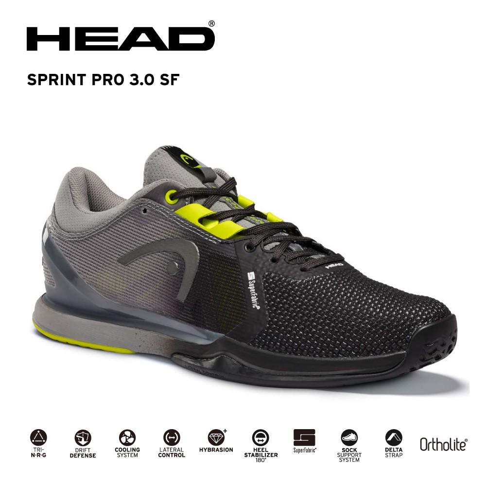 HEAD。SPRINT PRO 3.0 SF專業網球鞋/運動鞋/男鞋/包覆性強 黑/黃 273980