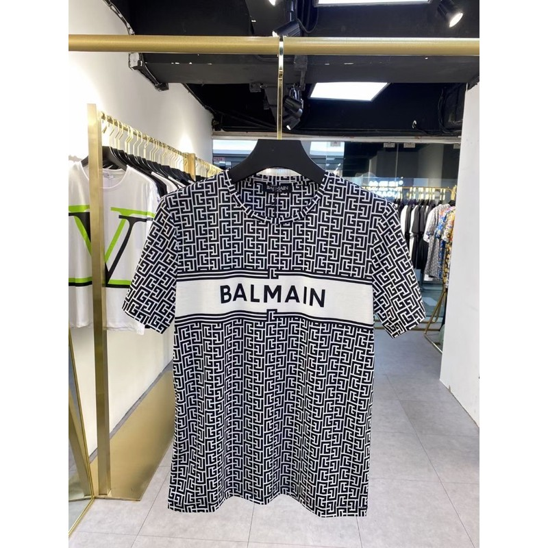 新款🏷️Balmain 黑白花紋字母短袖T恤 短袖上衣