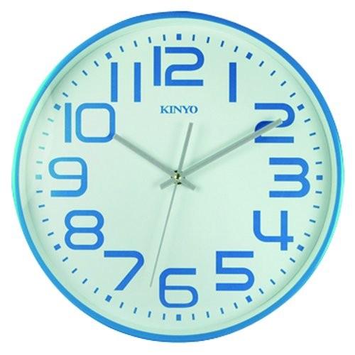 KINYO CL-146BU 馬卡龍靜音掛鐘(藍)