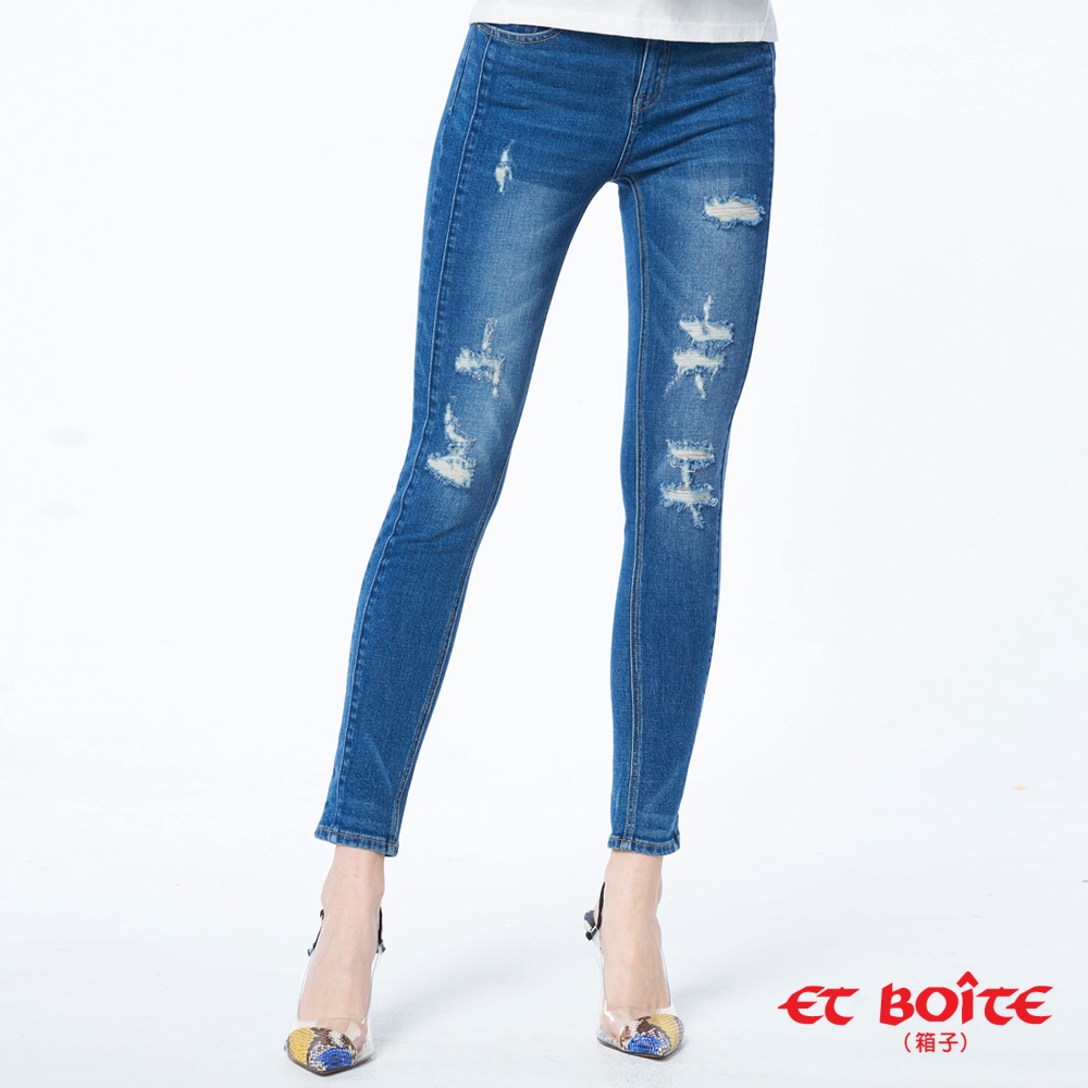 ET BOiTE 箱子 BLUE WAY -高腰直筒褲/ 高腰刷破9分窄直褲/00510