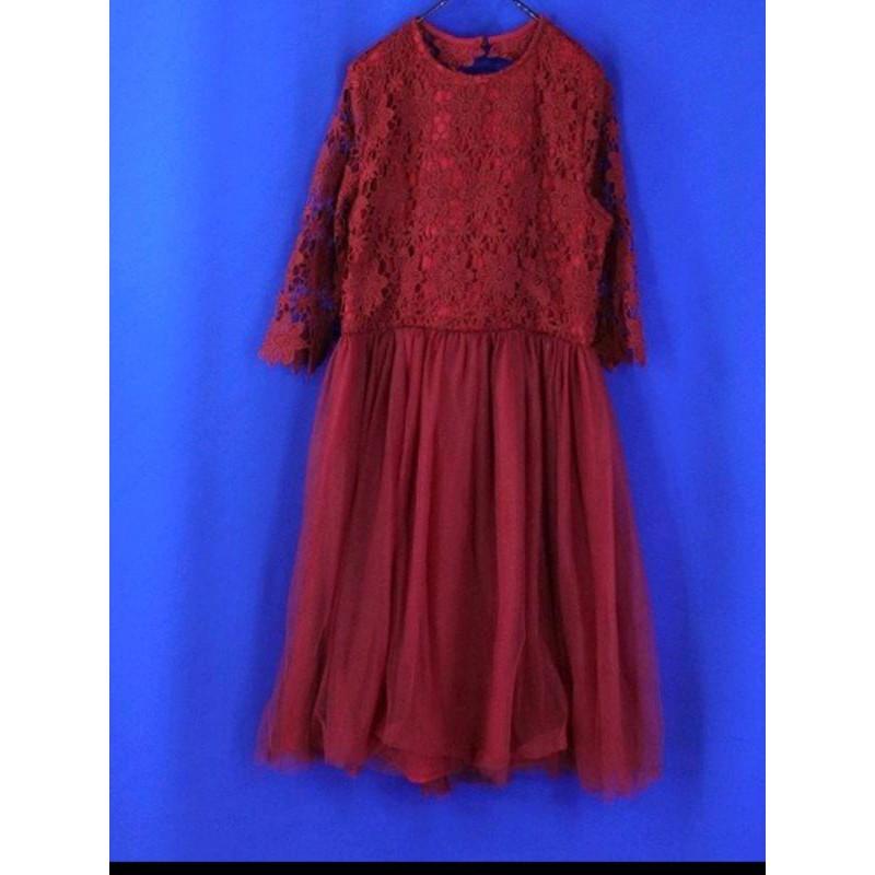女【專櫃品牌PAZZO】全新品 酒紅色 花朵蕾絲拼網紗 七分袖洋裝000099