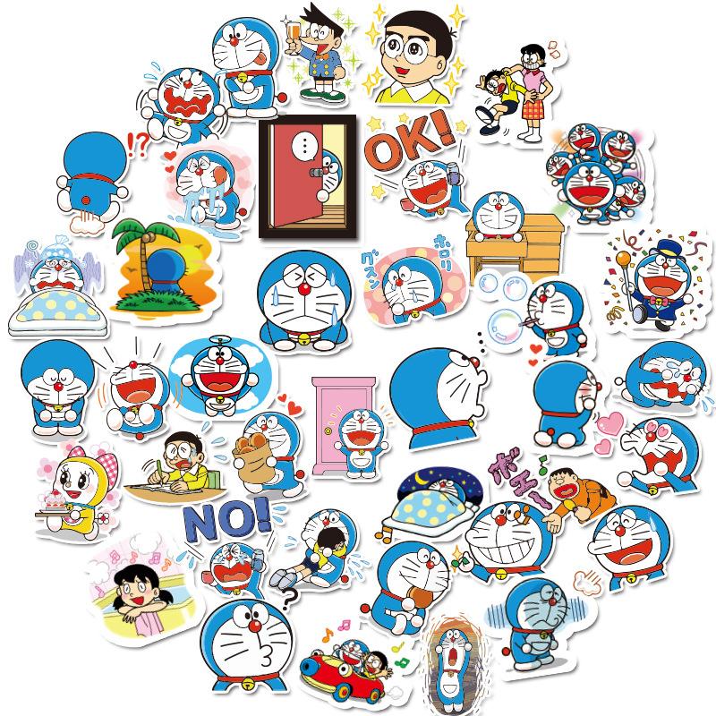 現貨 哆啦A夢貼紙 可愛表情貼 卡通動漫手賬貼 機車 筆電防水貼紙