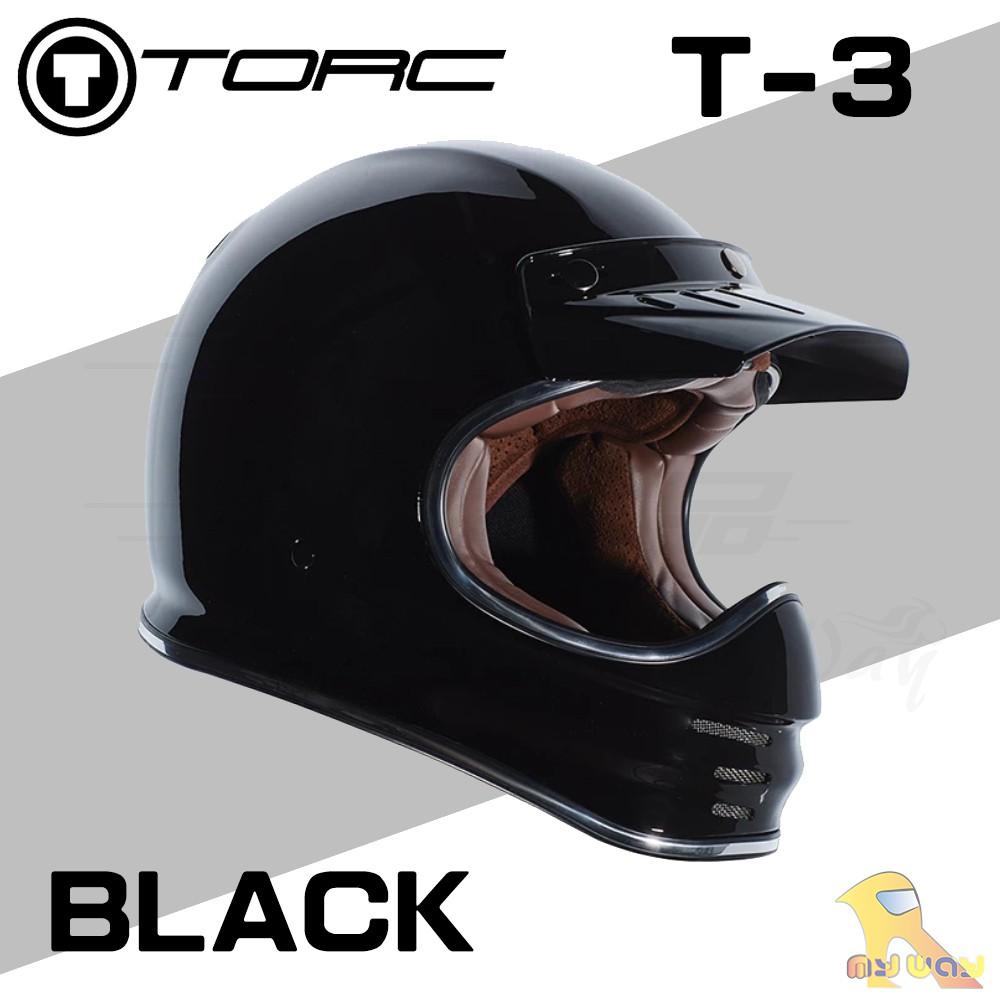 任我行騎士部品 Torc T3 全罩 山車帽 滑胎車 復古 咖啡 Cafe 附帽舌 安全帽 亮黑色