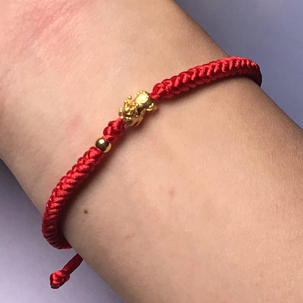 純金9999足金黃金 貔貅紅繩手鍊 0.037錢 楊勝元老師加持