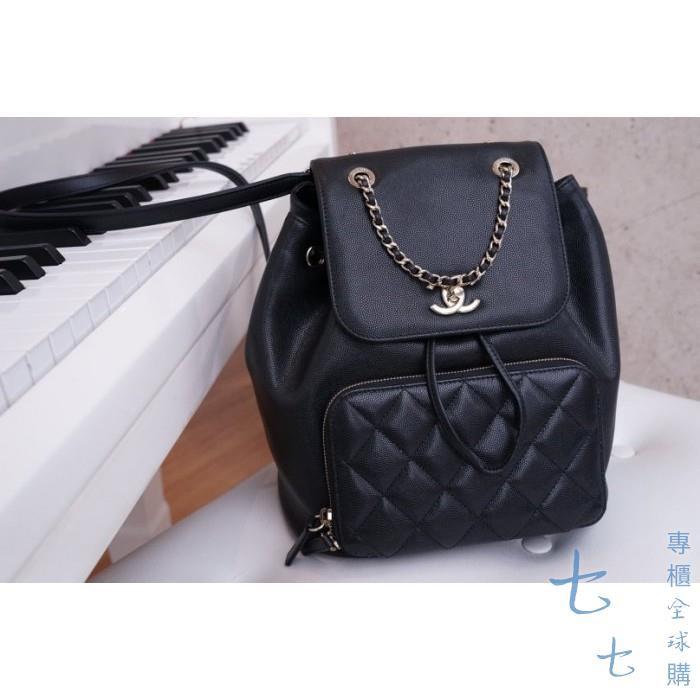 Chanel A93748 Backpack 荔枝紋後背包 黑金鍊 現貨