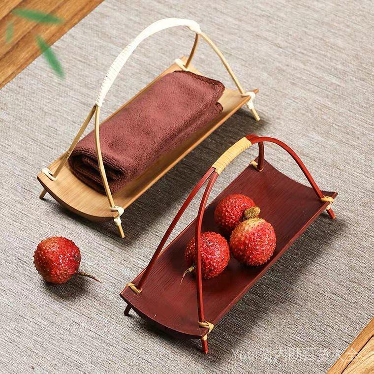竹編手提方形籃 精緻竹製盛物籃茶則 點心提籃瓜子盤水果盤竹籃