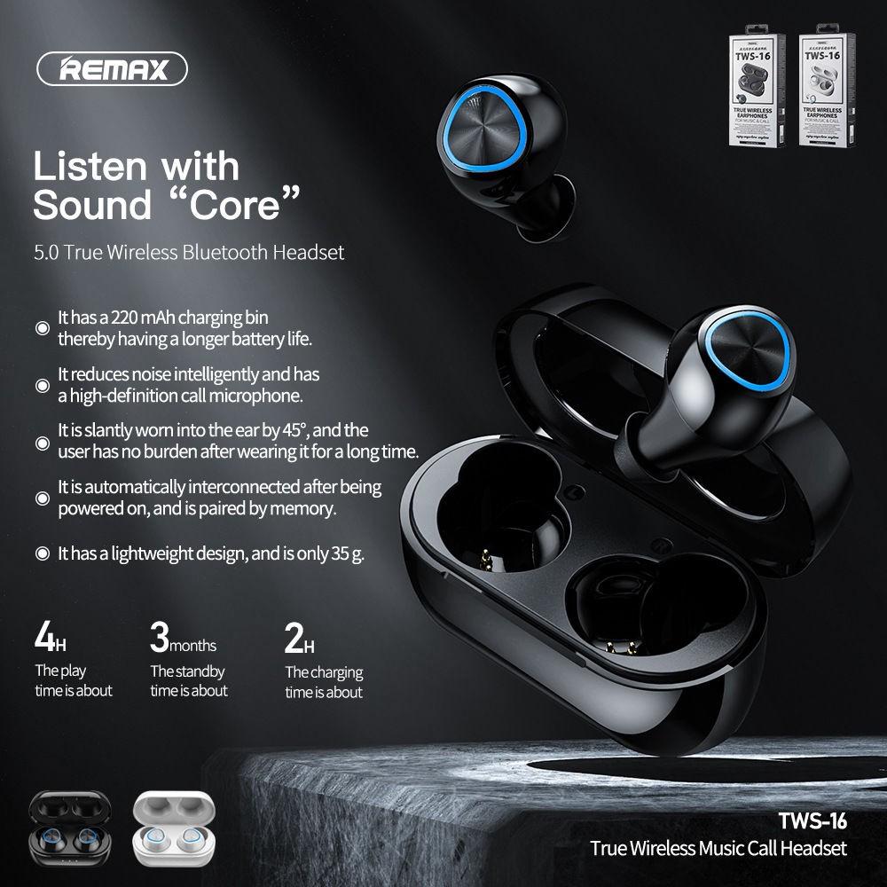 Remax/睿量TWS16無線藍牙耳機tws對耳充電倉超長待機藍牙耳機