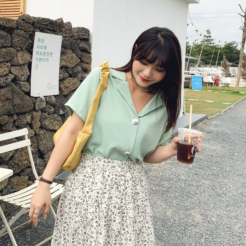 CC-GIRL 甜美馬卡龍色氣質造型排釦短袖襯衫 -共 3 色- 適L~5L《 31067 》中大尺碼