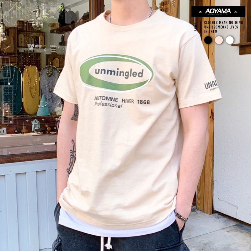 AOYAMA unmingled簡約基礎文字短T【C21001】寬鬆短袖 韓國 大地色 街頭 青山
