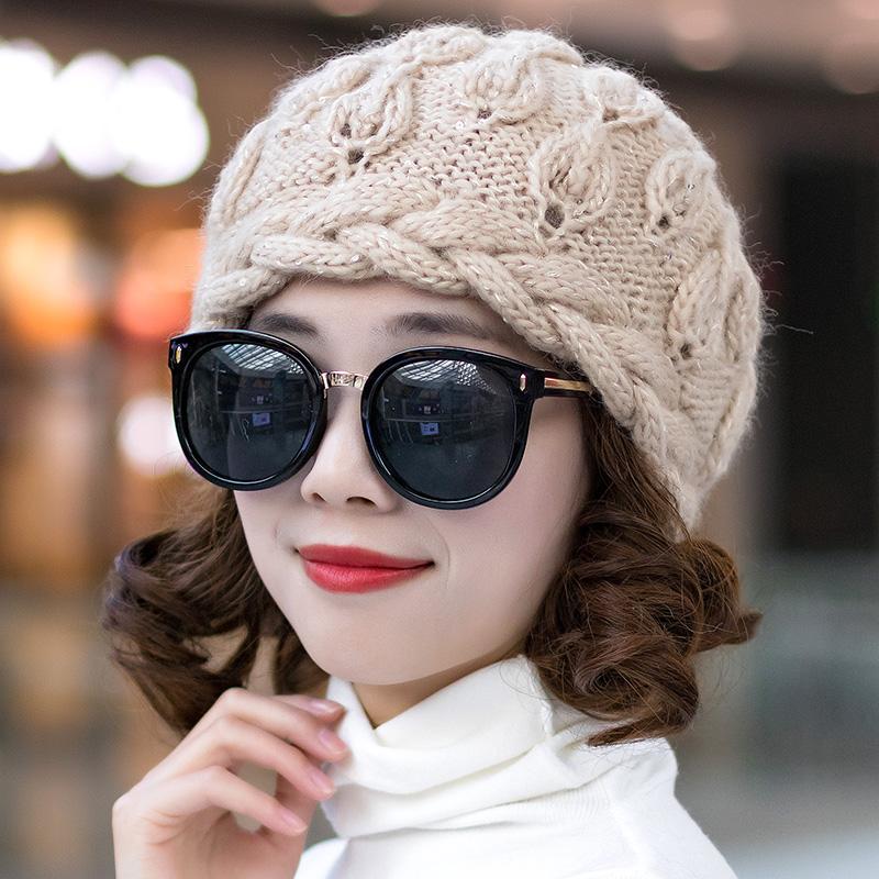 【現貨冬季保暖護耳針織女帽】毛線帽子女冬季韓版手工編織羊毛混紡加絨保暖帽女防寒優雅針織帽