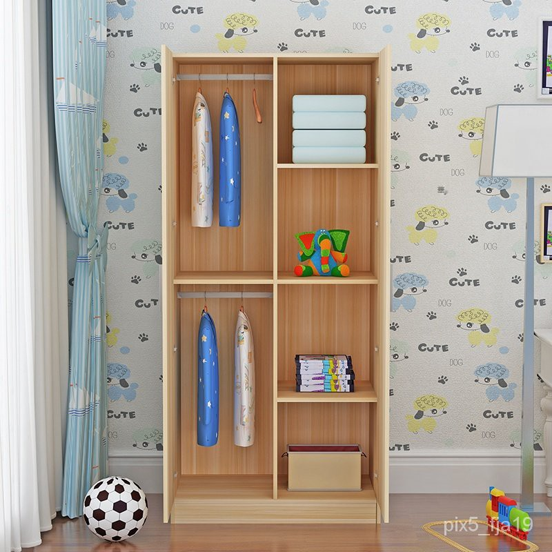 現貨免運#儲物櫃,收納櫃,飄窗櫃兒童衣櫃2門木質組裝儲物櫃成人衣櫥經濟型簡約寶寶衣櫃出租房