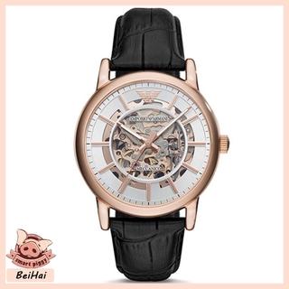 ARMANI 阿瑪尼 防水防震手錶 男款機械錶 黑色皮革商務皮帶腕錶 玫瑰金鏤空機械腕錶 珍珠白  AR60007 桃園市
