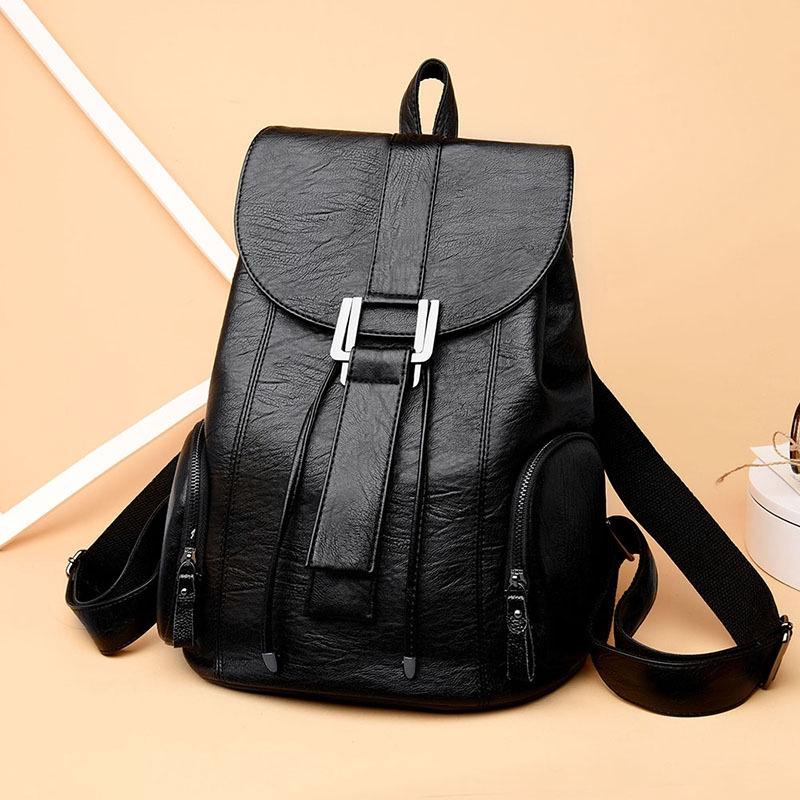 防盜女包女士戶外旅行背包大容量抽繩軟皮休閒雙肩包