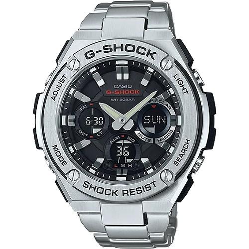 【CASIO】卡西歐手錶 G-SHOCK GST-S110D-1A絕對強悍太陽能數位手錶-銀色_CASIO原廠公司貨